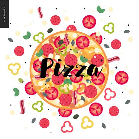 Italian restaurant set - pizza with ingredients around