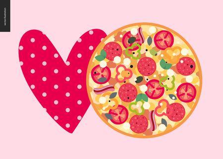 Italian restaurant set - love pizza - pizza and heart