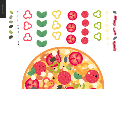 Italian restaurant set - pizza composition with ingredients arranged in rows.