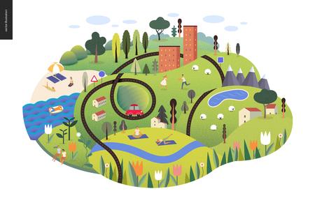 Paysage d'été magique - île verte avec lac, collines, routes, voitures, maisons et arbres, avec des montagnes et des nuages au-dessus et des fleurs au premier plan. Moutons et se reposer et faire du sport