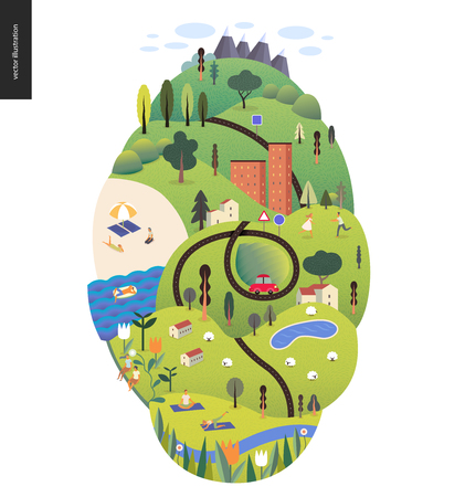 Magical summer landcape with green island, lake, hills, roads, cars, houses and trees.