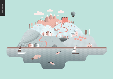 Green floating island with hills, roads, cars, castle, houses and trees, with mountains, balloon and clouds above and waving sea and striped houses on the coast.