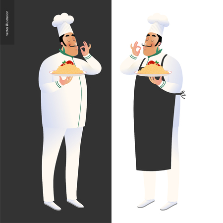 Italian restaurant set - two cooks wearing the uniform holding a dish of pasta with red bolognese sauce, cartoon character Çizim