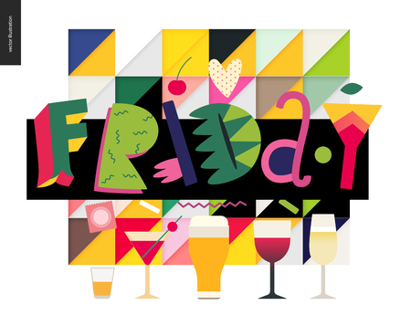 Love spring Friday, lettering composition and glasses of alcohol drinks.