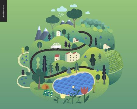 Paisaje de verano mágico: isla verde con lago, colinas, carreteras, automóviles, casas y árboles, con montañas y nubes arriba y flores en primer plano.