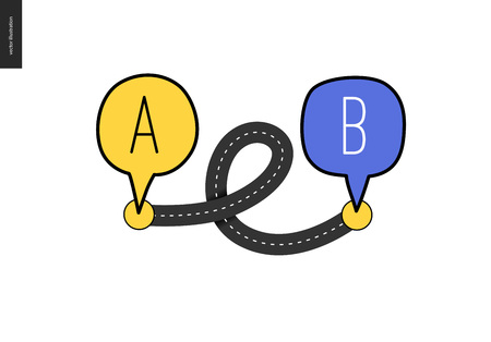 From point A to point B - an asphalt road loop connecting two points - concept of a math transport problem solution