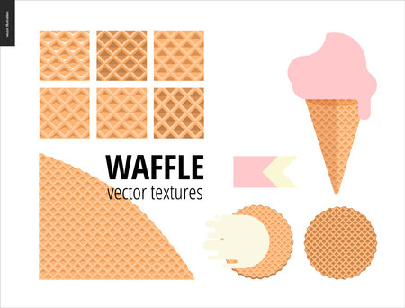 Vector illustration of six seamless waffle patterns and red fruit ice cream scoop in a waffle cone, pink flat ribbon and two round belgian waffers