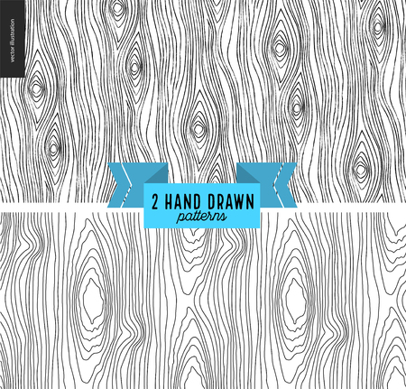 Set of hand drawn wood black and white pattern. Vector seamless abstract hipster background with wooden annual rings texture. Endless vector backgrounds of simple primitive tree textures with stripes