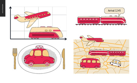 From point A to point B a set of transportation planning concept. Illustration