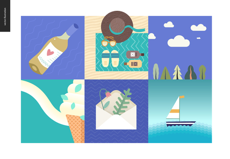 Simple things on vacation - flat cartoon vector illustration of wine bottle, beach accesories, landscape with clouds, ice cream, envelope with herbarium, sail boat in the sea, summer composition Illustration