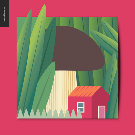 Simple things - concept illustration of a tiny red house under the mushroom growing among huge grass trunks, summer postcard, vector illustration