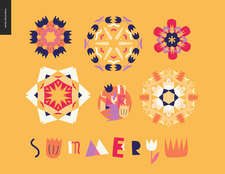 Summer kaleidoscopic patterns - set of floral snowflakes and Summer lettering