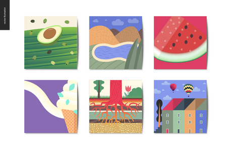 Simple things - cards - flat cartoon vector illustration of avocado, olives, landscape with mountains and lake, watermelon , ice cream, tree roots growing, townhouses - summer postcards composition Illustration