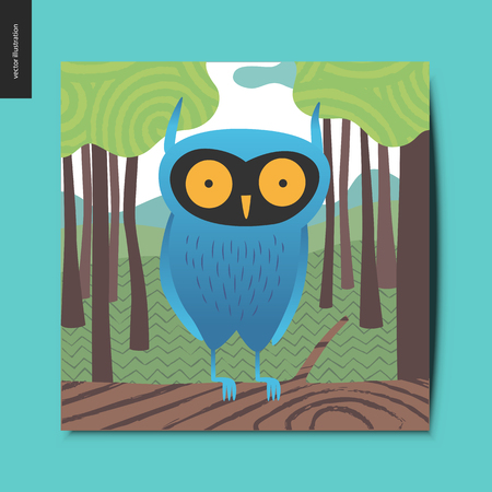 Simple things - Blue owl with yellow eyes sitting on the branch and a forest trees on the background, summer postcard, vector illustration
