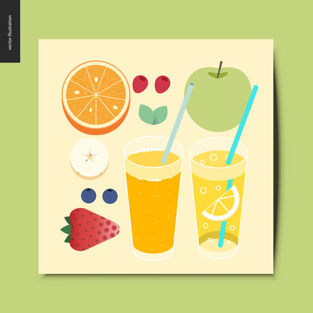 Simple things - fruit and berries - flat cartoon vector illustration of breakfast meal, fruit, berries, mint, fresh orange juice and lemonade - summer postcard.