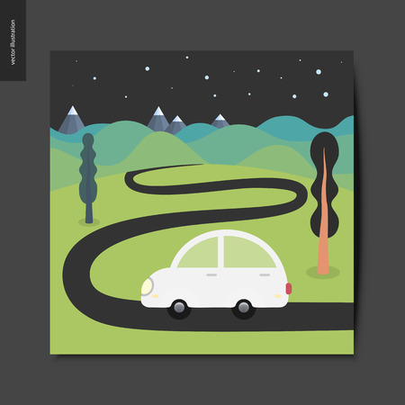 Simple things - a car moving on the empty road In the countryside with hills, mountains and night starry sky on the background, summer postcard, vector illustration