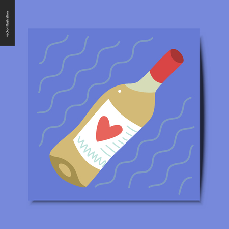 Simple things - a bottle of white wine with a heart on its label, postcard, vector illustration 일러스트
