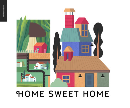 Simple things - color - flat cartoon vector illustration of houses, Home Sweet Home lettering, mushroom, town, city, village, tiny house, road, map and neighbourhood - colour composition Illustration