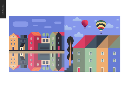 Simple things - color - flat cartoon vector illustration of houses row of town houses, canal bank, clouds, sky, townhouses, tall trees, hot air balloons and clouds - colour composition Çizim