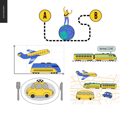 From point A to point B set of transportation planning concept - airplane, train timetable graphics, taxi service, city road map, train timetable, young male traveler walking on globe by curved way