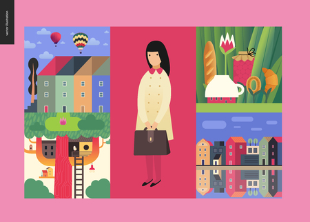 Simple things - houses - flat cartoon vector illustration of pink school girl, river, townhouses, air balloons, cloud sky, grass, jar, bakery, tree and tee house - houses composition Illustration