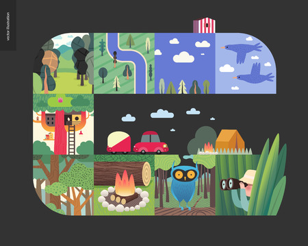 Simple things - forest set on a black background - flat cartoon vector illustration of birds, sky, clouds, top view camp with river, trees, forest, treehouse, woods, woodfire, owl, hunter -composition Vectores