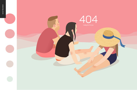 404 error web page template with family on pink background - flat cartoon vector illustration of family watching sunset , sunrise landscape, pink sky, background, girl wearing a hat
