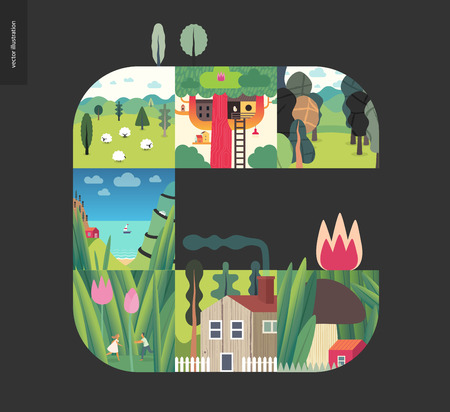 Simple things - forest set on a black background - flat cartoon vector illustration of couple in tulips, mushroom house, treehouse, forest, field, sheep, countryside house, sea view, boat - composition