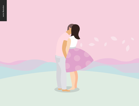 Kissing scene - flat cartoon vector illustration of young couple, boyfriend and girlfriend, kissing, romantic scene with pink hills, leafs and mountains on the background, sunrise, sunset - composition