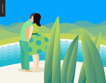 Kissing scene - flat cartoon vector illustration of young couple, boyfriend and girlfriend, kissing on beach, romantic scene with green hills, sea, water and mountains on the background - composition