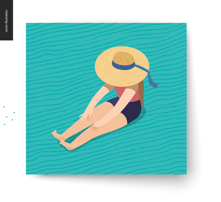 Picnic Image - flat cartoon vector illustration of girl sitting on the floor with a ribbon beach hat on hiding her face, long brunette hair, blue wavy striped background pattern - summer postcard
