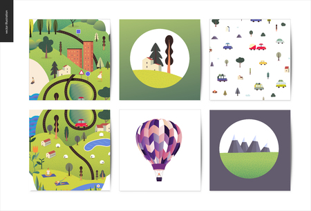 Magical summer landscape - green island, lake, hills, roads, cars, houses, trees, with mountains, clouds above and flowers on foreground. Sheep and resting and doing sport people. Postcards template
