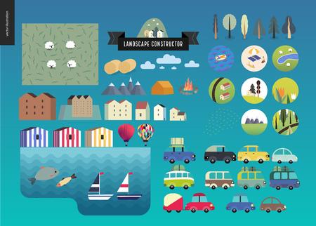 Summer landscape constructor set - kit of city and park landscape elements - houses, trees, cars, roads. Travel to tourist camp. Illustration