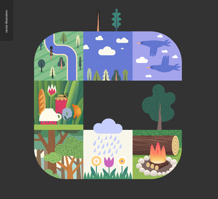 Simple things - forest set on a black background - flat cartoon vector illustration of birds, sky, clouds, top view camp with river, tee meal, forest, woods, woodfire, blooming flowers -composition