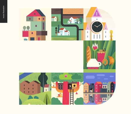 Simple things - houses - flat cartoon vector illustration of colorful countryside house, treehouse, tower clock, church, tee meal, country, farm land, canal bank - houses composition
