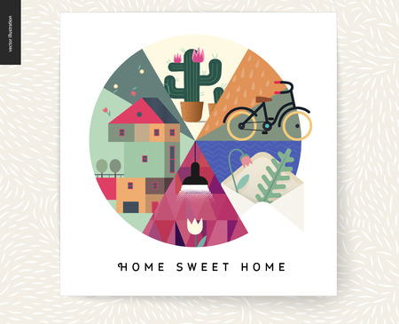 Simple things - home - flat cartoon vector illustration of countryside three storey house, cactus, flower, bicycle, envelope, leaves, herbarium, lamp, Home Sweet Home lettering - house circle postcard