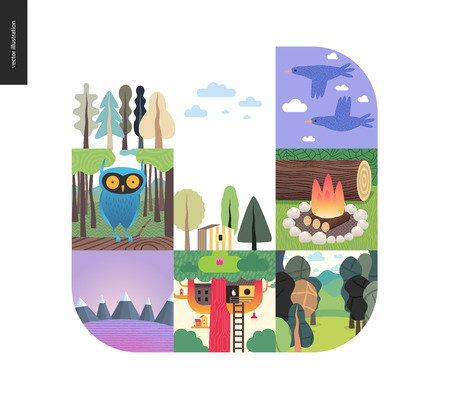 Simple things - forest set on a white background - flat cartoon vector illustration of birds, sky, clouds, forest, treehouse, woods, woodfire, owl, striped house and mountains with snow - composition