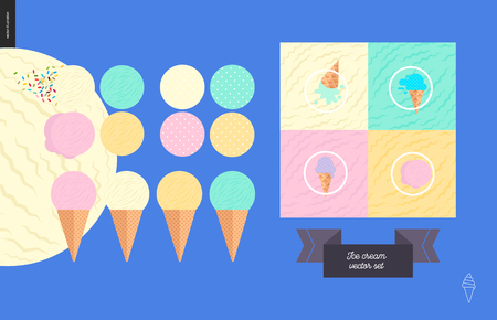 Ice cream scoops in waffle cones set - flat cartoon vector illustration of ice creams, vanilla, mint, pink, and fruit scoops, waffle paterns, sprinkles, lettering, cones, patterns - composition set