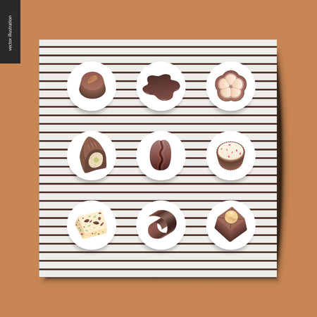 Simple things - chocolate - set of dark and white chocolate crisp bonbons and bars, chocolate chips, coffee and cacao beans and hot chocolate, postcard, vector illustration Illustration