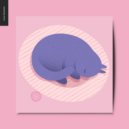 Simple things - a purple cat curling up in the cats bed on the floor, and a ball next to it, postcard, vector illustration