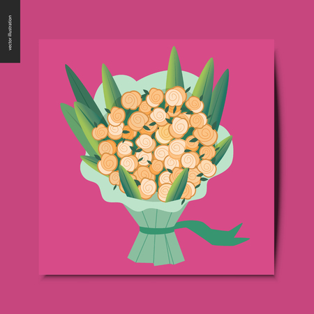 Simple things - bouquet of flowers, postcard, vector illustration