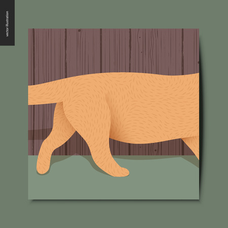 Simple things - a red cat running through the frame in the room, postcard, vector illustration