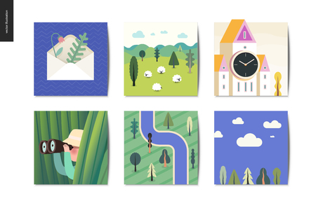 Simple things - cards - flat cartoon vector illustration of envelope, herbarium, sheep, field, tower clock, hunter, grass, binocular, top view forest river map, sky view - summer postcards composition Illustration
