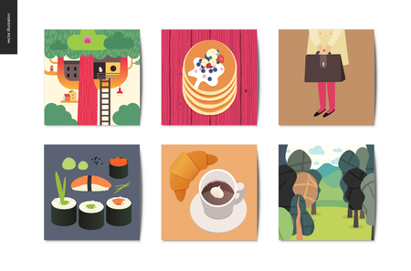 Simple things - Cards - Flat cartoon vector illustration of treehouse, stack of pancakes, school girl, briefcase, sushi, rolls, croissant, coffee, forest, wood, nature - summer postcards composition Illustration