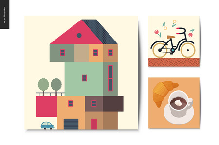 Simple things - postcards - flat cartoon vector illustration of set of countryside four storey house with garage, bicycle with yellow wheels, falling flowers, croissant, coffee with cream - cards set