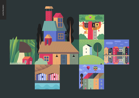 Simple things - houses - flat cartoon vector illustration of landscape, treehouse, countryside stripped and tiny mushroom house, chimney, trees, townhouses, river, air balloon - houses composition