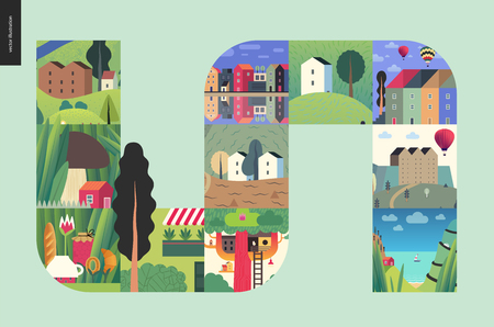Simple things - houses - flat cartoon vector illustration of colorful countryside house, buildings, architecture, treehouse, air balloons, sea, boat, tee meal, mushroom house. farm -houses composition Illustration