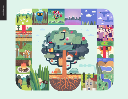 Simple things - forest set on a mint background - flat cartoon vector illustration of hunter, trees, firewood, forest, roots, sheep, owl, air balloons, mountains, birds, date, lake, map - composition