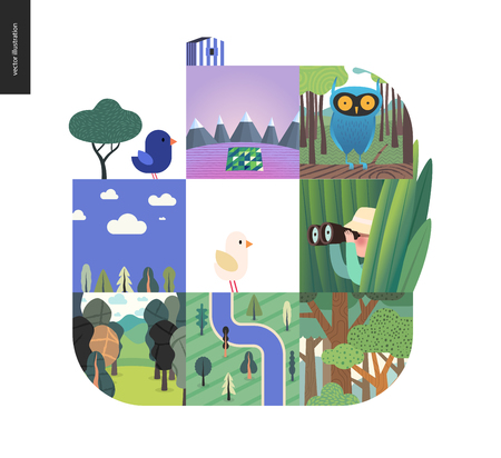 Simple things - forest set on a white background - flat cartoon vector illustration of owl in woods, forest, top view map, river, sk, clouds, bird, hunter in grass, mountains with snow -composition Banque d'images - 101985759