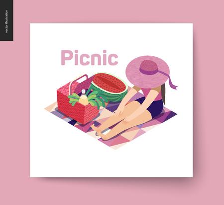 Picnic Image - Flat cartoon vector illustration of girl sitting, ribbon sun hat, sea, pink abstract blanket, picnic wicker basket, watermelon, lemonade, greenery salad, onion, message bubble - summer postcard